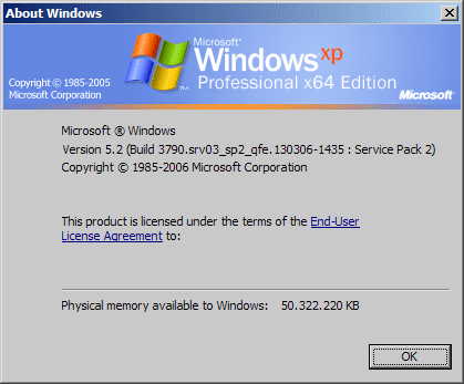 Команда winver windows xp