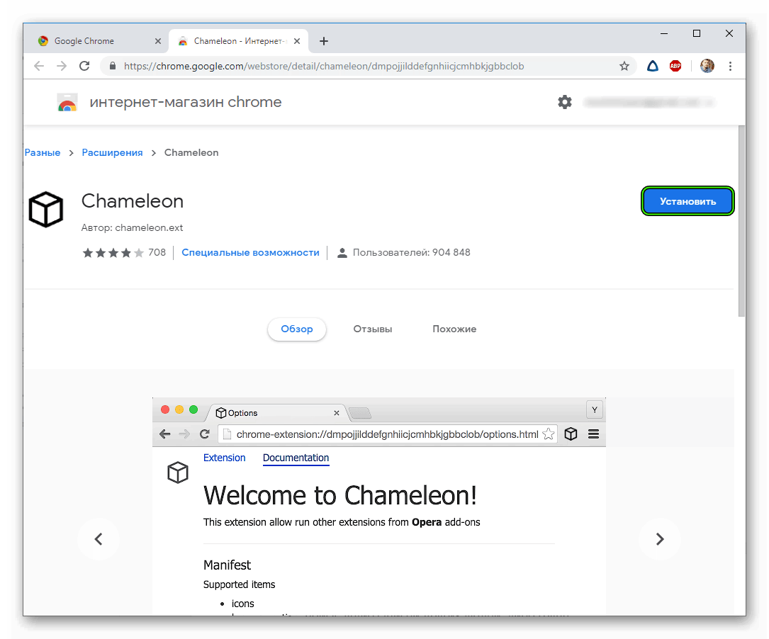 Установить Chameleon в Google Chrome