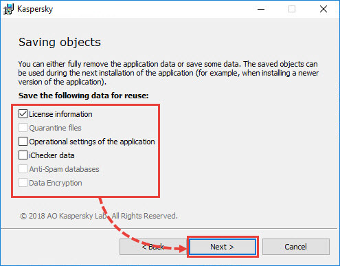 Selecting objects to save before removing a Kaspersky application