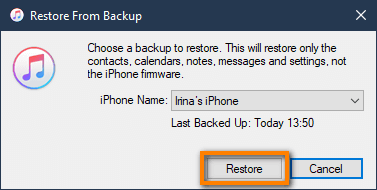 Restore iPhone with iTunes select backup