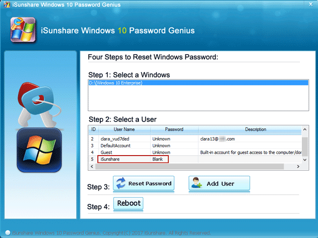 remove windows 10 password successfully with password tool